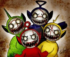 Zombie Teletubbies by Eilyn- Chan Creepy Drawings, Dark Drawings, Halloween Drawings, Creepy Kids, Creepy Art, Cartoon Kunst, Cartoon Art, Arte Horror, Horror Art