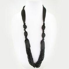 Black Satin and Black Bead Tie Necklace