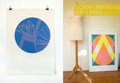 Screen prints by Katy Binks