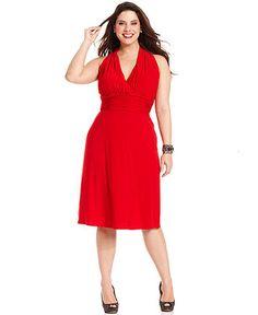 Evan Picone Plus Size Dress, Sleeveless Ruched Halter - Plus Size Dresses - Plus Sizes - Macy's
