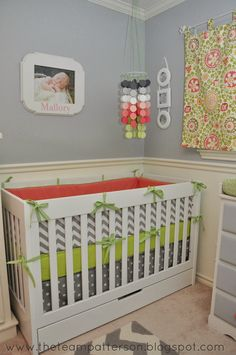 Team Patterson: Triplet Girls' Nursery: Coral, Lime Green, and Gray Chevron