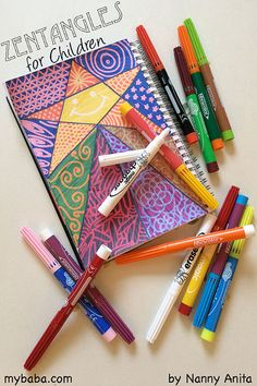 Zentangles for children made into a doodle book busy bag. Easy to keep in your bag. Fun Crafts, Crafts For Kids, Arts And Crafts, Doodle Books, Doodles Zentangles, Coloured Pencils, Busy Bags, Create Image, More Fun