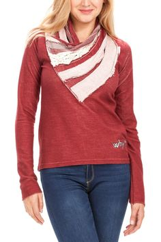 """Desigual Sweatshirt """"Stef"""" (red), 47S2501 3080. Stunning red and white jumper with unique neckline in different fabrics. Long sleeves, stretchy fabric, cotton."""