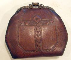 VTG Edwardian Tooled Leather Purse Clutch & Coin JEMCO Art Nouveau Arts & Crafts
