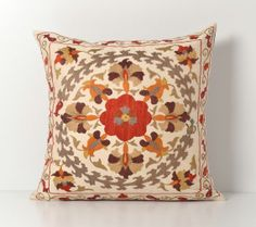 Suzani Pillow  20X20 Uzbek Hand Embroidery Floral by pillowme