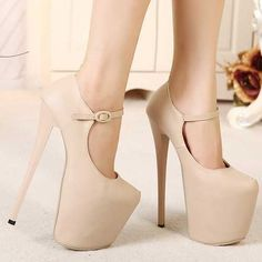 Sexy Super High Heel 19CM Princess Summer Pumps Rome Style Fashion Thick Platform Round Toe Nude Shoes Apricot and Black alishoppbrasil