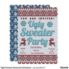Ugly Sweater Party 5x7 Invitation Scalloped Ugly Sweater Party, Ugly Christmas Sweater, Colored Envelopes, White Envelopes, Holiday Party Invitations, Yesterday And Today, Envelope Liners, Custom Invitations, Holiday Fun