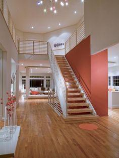 rénovation escalier droit sans contremarches et peinture couleur terre cuite