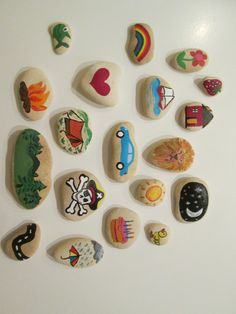 I made some simple colorful story stones similar to these for my 3-year-old daughter this week. So far she just likes to hit them together to hear the noise they make...