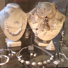 Jewelled pearls handcrafted neck corset and sterling silver freshwater pearl jewellery by Sarah Coles
