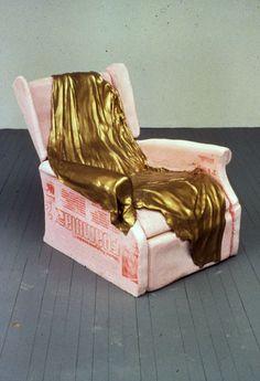 "Todd Knopke, ""Felipe,"" 1997, foam, plaster, gold leaf, 49""x50""x40"""