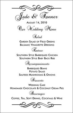 Wedding Menu Templates - can be adopted for any other party/special occasion menu printout