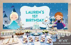 Frozen Backdrop Frozen Birthday Invitation by LittleMsBuddha Frozen Birthday Invitations, Disney Frozen Birthday, Frozen Party, Frozen Backdrop, Backdrops, Place Card Holders, Party Ideas, Etsy, Frozen Background