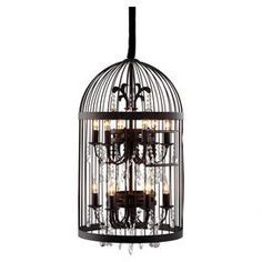 """Industrial-inspired pendant light. Showcases 2 chandeliers with crystal accents surrounded by a metal birdcage.    Product: PendantConstruction Material: Metal and crystalColor: RustFeatures: 59.84"""" Cord lengthAccommodates: (12) 25 Watt E26 max bulbs - includedDimensions: 32.9"""" H x 19.9"""" Diameter"""