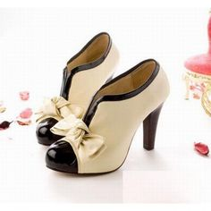 Wholesale Sexy Lady Beige Bow Pump Platform Women High Heel Shoes Only $8.25 Drop Shipping | TrendsGal.com