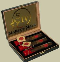 Makers Mark Cigars - Each one is in a glass case with the signature Maker's Mark wax seal.