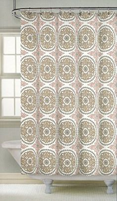 beige and white shower curtain. Nicole Miller Ornate Medallion Cotton Bland Fabric Shower Curtain 72 inch  By Cynthia Rowley Happy Elephant
