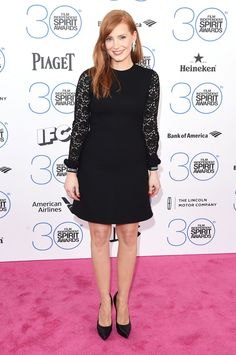 Jessica Chastain arrives in a Saint Laurent dress at the 2015 Film Independent Spirit Awards on Feb. 21, 2015, in Santa Monica, California.   - Cosmopolitan.com