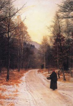 So many questions: Who is the figure? Where does the road lead? What's in the basket? Where is she going? Glen Birnam (1891, oil on canvas) by John Everett Millais