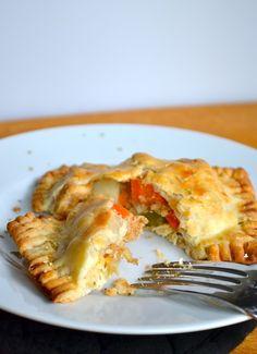 Use GF pie crust, thicken with tapioca or corn starch. Chicken & Vegetable Hand Pies from Rachel Schultz