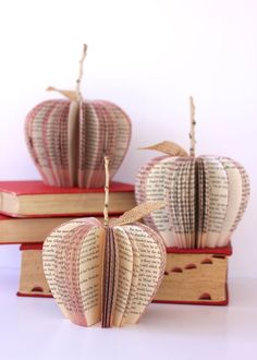 small VINTAGE BOOK APPLE /// made to order by HiButterfly on Etsy