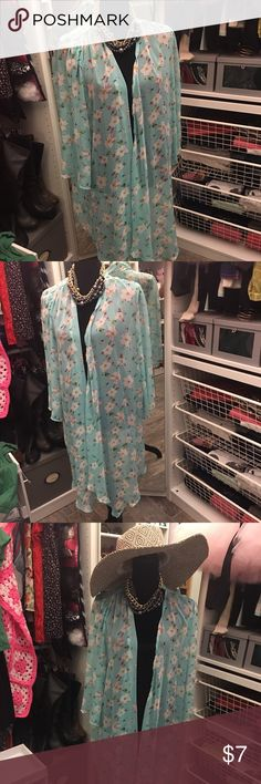 Kimono Floral Kimomo Cardigan medium Never worn because fits big and long. Tops Camisoles