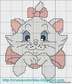Disney Aristocats Marie Colour Cross Stitch Charts x 5 Disney Stitch, Disney Cross Stitch Patterns, Cross Stitch Charts, Cross Stitching, Cross Stitch Embroidery, Gata Marie, Marie Aristocats, Stitch Cartoon, Ladder Stitch