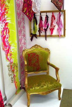 Printed Textiles Degree Show, Loughborough University, Leicestershire Exhibition Display, Exhibition Space, Exhibition Ideas, Textile Prints, Textile Design, Textile Art, Environmental Graphic Design, Environmental Graphics, Fabric Installation