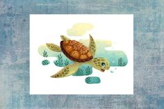 Funny Sea Turtle - Summer animals series Available as a postcard Illustrations, Sea, Etsy, Funny, Summer, White Paper, Turtle, Cards, Animaux
