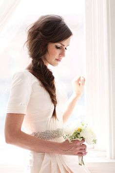 the bride. love her messy fishtail braid. #hair #wedding