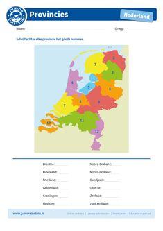 Zoek het goede nummer bij de provincie - Junior Einstein - Met dit werkblad leer je de Nederlandse provincies vinden op de kaart. Zoek de provincie op de kaart en kijk welk nummer erbij staat. Schrijf achter elke provincie het goede nummer. Door te oefenen met dit werkblad leer je te topografie van Nederland beheersen. Tip: leer voor het maken van dit werkblad de provincies op ons leerblad. Let op: om de kaart goed te kunnen bekijken, raden wij aan deze in kleur te printen. Dutch Language, School Tool, Home Activities, Homeschool Math, Quality Time, Fun Learning, Life Skills, Diy For Kids, Kids Playing