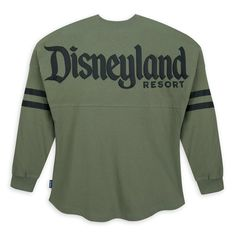 Recapture the spirit of youth in this sage Spirit Jersey with puffy Disneyland Resort logo, ''D'' icon, and print sleeve stripes. Spirit Jersey, Disneyland Trip, Disneyland Resort, Disney Outfits, Disney Clothes, Disney Fashion, Fashion Fashion, Fraternity Collection, Resort Logo