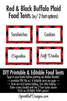 Lumberjack Party Decorations, Red Black Buffalo Plaid Woodland Birthday Party Decorations, Printable Food Tents Editable Text Place Cards