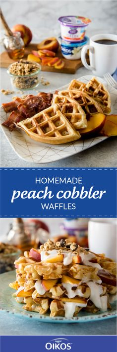 Nothing says summer quite like this delicious combination of buttermilk waffles, lightly sweetened with yogurt and fresh peaches, and a topping of honeyed yogurt & granola! When you're looking for the perfect warm-weather breakfast idea, this recipe for H Breakfast Waffles, What's For Breakfast, Breakfast Dishes, Breakfast Recipes, Pancakes, Recipe For Homemade Peach Cobbler, Waffle Maker Recipes, Yogurt And Granola, Nutella