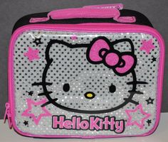 HELLO KITTY LUNCH BAG BOX INSULATED AUTHENTIC SANRIO SILVER PINK SEQUINS  NWT Hello Kitty Bag 83b2d5aaec922