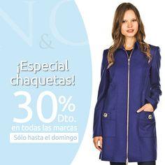 ¡Sólo hasta el domingo! Aprovecha un 30% de descuento en chaquetas y abrigos de primeras marcas