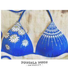 Golden Daisies Mandala Bikini Top Size Medium by MandalaMinds