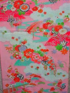 candy coloured 1970's crepe girls kimono fabric