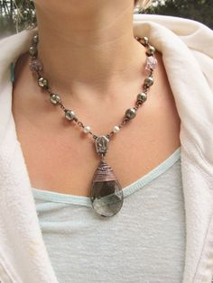 Crystal Bib Necklace Wire Wrapped Necklace by daniellerosebean, $122.00