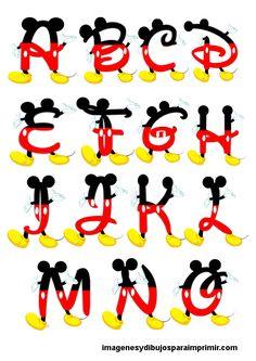 Abecedario de mickey mouse , todas las letras del abecedario en letras con forma del ratón más famoso de Disney, letras en rojo y amarillo ...