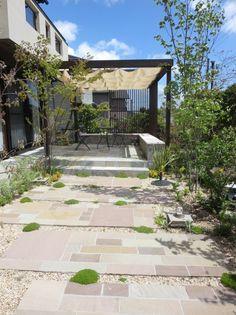 外構 庭 Exterior Garden、ウッドデッキ、アウトドアリビング、green、パーゴラ、日除け、アジアン、ガーデンテラス
