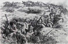 Granaderos de la Guardia de Baden en lucha cuerpo a cuerpo contra los franceses en las trincheras de Auberive en Champagne. Más en www.elgrancapitan.org/foro
