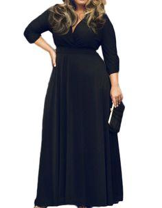 VIISHOW Women's Solid V-Neck 3/4 Sleeve Plus Size Evening Party Maxi Dress(XXL, Black)