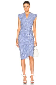 Veronica Beard Ruched Shirt Dress in Blue & White Stripe | FWRD
