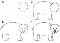 Explore collection of Polar Bear Drawing Step By Step Teddy Bear Drawing Easy, Bear Face Drawing, Grizzly Bear Drawing, Easy Drawings For Beginners, Easy Drawings For Kids, Cool Drawings, Simple Drawings, Design Floral, Art Design