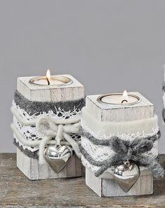 Teelichthalter Shabby Filz Herz Landhaus Holz grau weiß Teelicht Set (4489000) | eBay