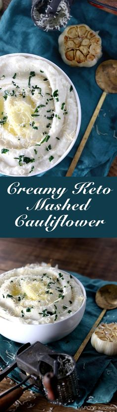 10 Most Misleading Foods That We Imagined Were Being Nutritious! My Pcos Kitchen - Creamy Keto Mashed Cauliflower - This Mashed Fauxtato Is So Creamy, Buttery And Filled With Roasted Garlic You Won't Even Miss Potatoes With This Via Mypcoskitchen Keto Foods, Ketogenic Recipes, Ketogenic Diet, Bariatric Recipes, Healthy Foods, Healthy Gluten Free Recipes, Sugar Free Recipes, Low Carb Recipes, Fast Recipes