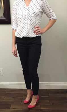 Anchor blouse and pink patent leather heels