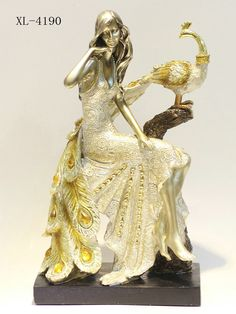 X gift Beige Resin Peacock With Princess Lady Showpiece home