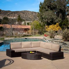 @Overstock - Never again stress about having your guests sit comfortably outside. With this large outdoor sofa set, you will always have plenty of comfortable seats for your friends and family to lounge and relax.http://www.overstock.com/Home-Garden/Santa-Cruz-Outdoor-Brown-PE-Wicker-Sofa-Set/6486689/product.html?CID=214117 $1,299.99